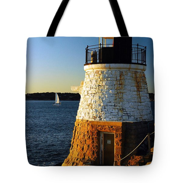 Castle Rock Lighthouse Tote Bag by James Kirkikis