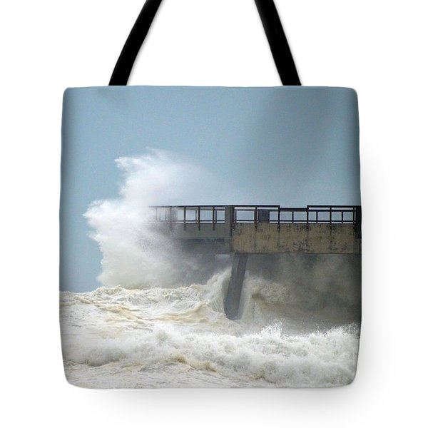 0828 Cat 1 Hurricane Isaac Crashes Into Navarre Beach Pier Tote Bag by Jeff at JSJ Photography