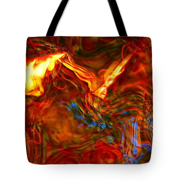 Tote Bag featuring the digital art Cat And Caduceus In The Matmos by Richard Thomas