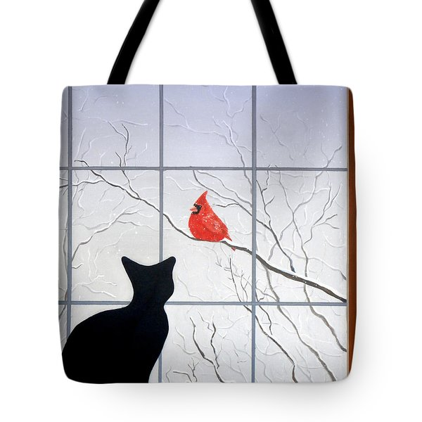 Cat And Cardinal Tote Bag by Karyn Robinson