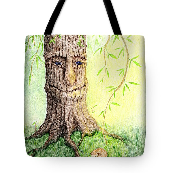 Tote Bag featuring the drawing Cat And Great Mother Tree by Keiko Katsuta