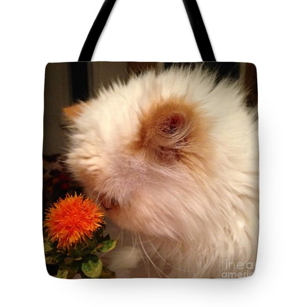 Cat And His Flower Tote Bag by Carla Carson
