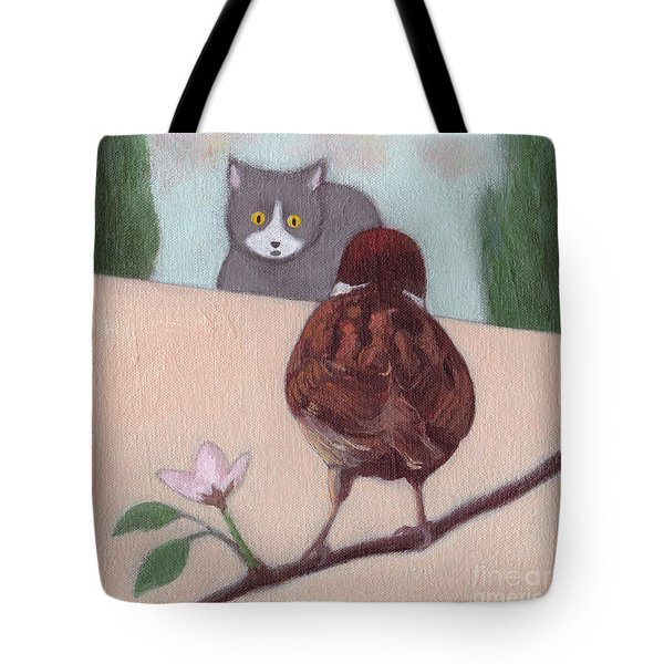 Cat And Sparrow  Tote Bag
