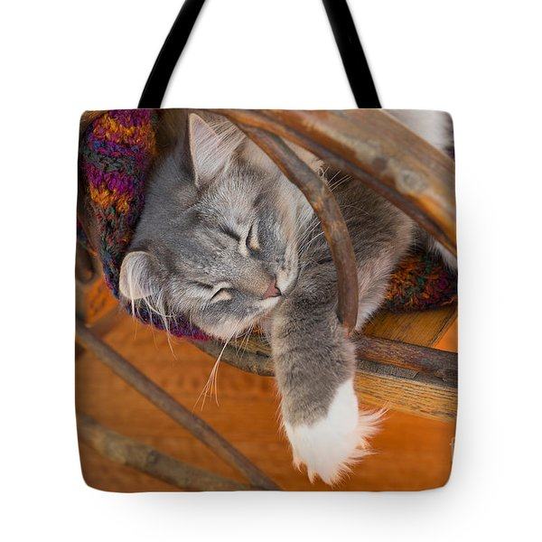 Cat Asleep In A Wooden Rocking Chair Tote Bag by Louise Heusinkveld