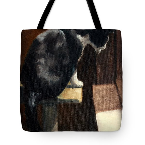 Cat At A Window With A View Tote Bag by Lisa Phillips Owens