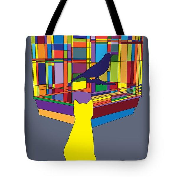 Cat Bird Pop Tote Bag