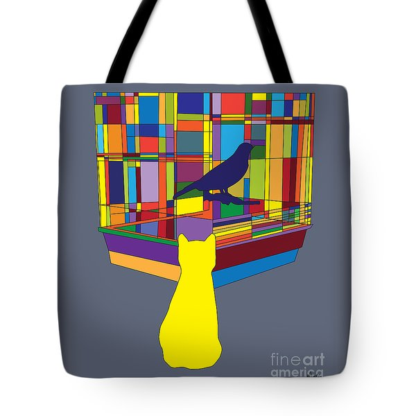 Tote Bag featuring the digital art Cat Bird Pop by Megan Dirsa-DuBois