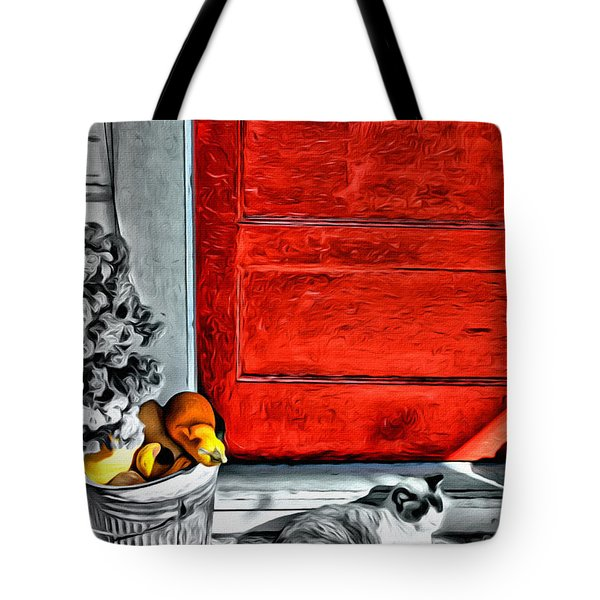 Cat By The Red Door Tote Bag