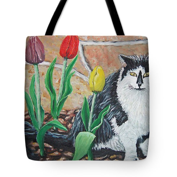 Cat By The Tulips  Tote Bag
