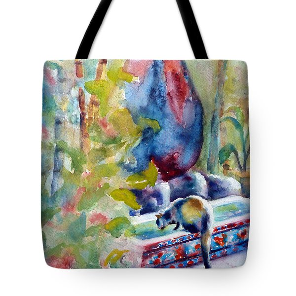 Cat Drinking Fountain Tote Bag