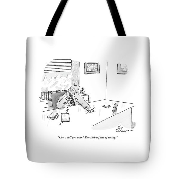 Cat Executive On Phone Tote Bag