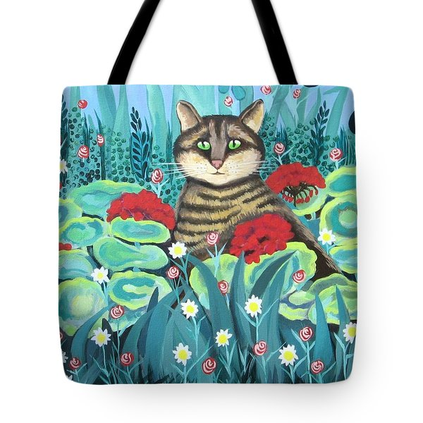 Cat Hiding In The Rainforest Tote Bag