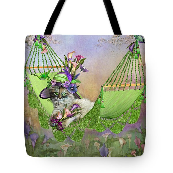 Tote Bag featuring the mixed media Cat In Calla Lily Hat by Carol Cavalaris