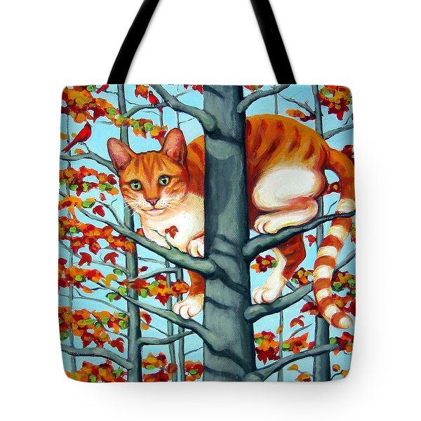 Orange Cat In Tree Autumn Fall Colors Tote Bag