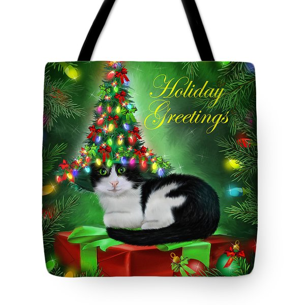 Cat In Christmas Tree Hat Tote Bag by Carol Cavalaris
