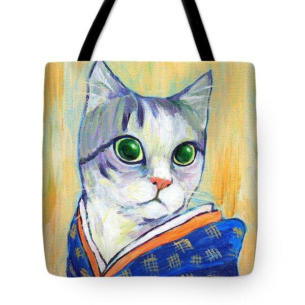 cat in kimono of Ukiyoe style Tote Bag by Jingfen Hwu