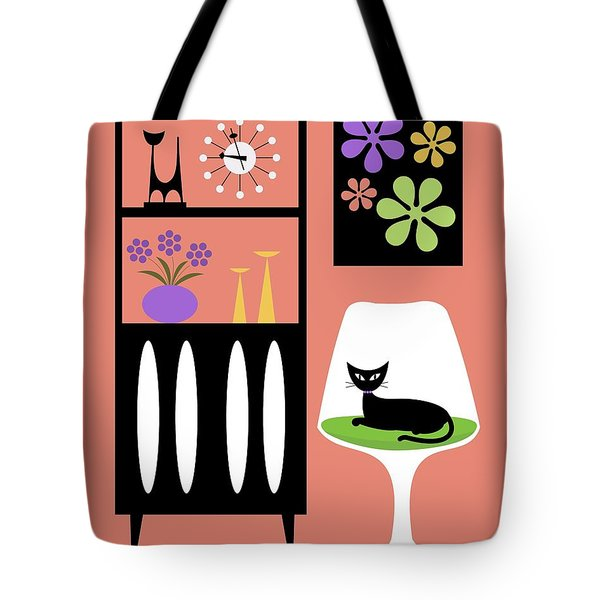 Cat In Pink Room Tote Bag by Donna Mibus