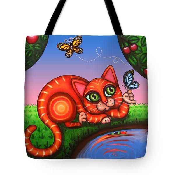 Cat In Reflection Tote Bag by Victoria De Almeida