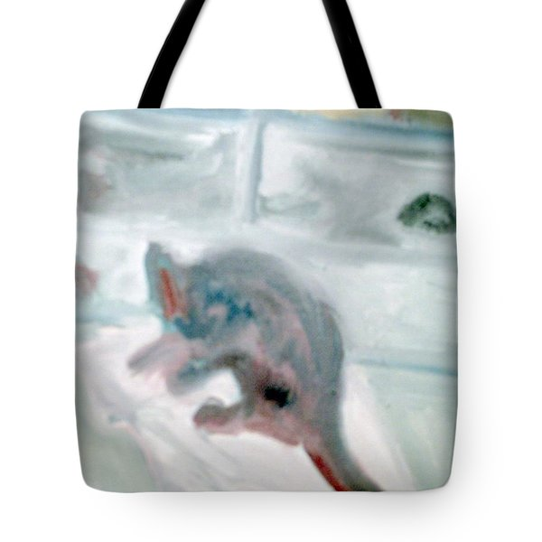 Cat In The Garage On A Mat Tote Bag