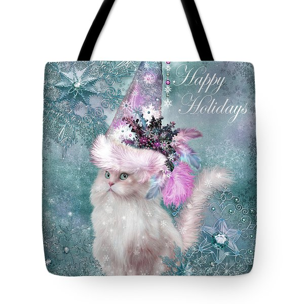 Tote Bag featuring the mixed media Cat In The Snowflake Santa Hat by Carol Cavalaris