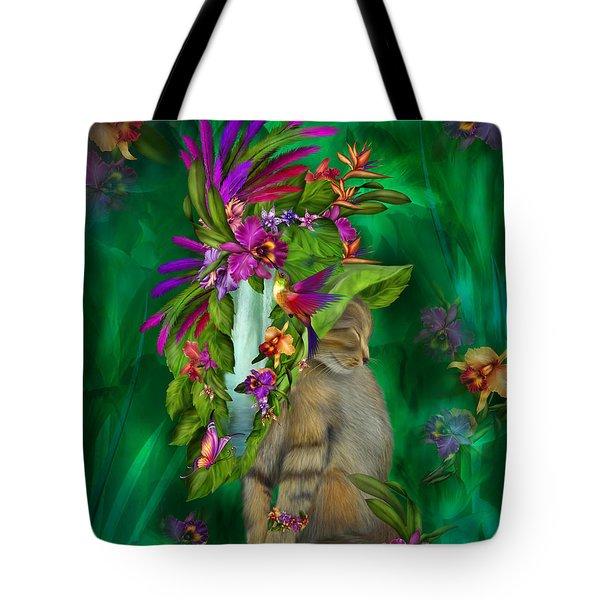 Cat In Tropical Dreams Hat Tote Bag by Carol Cavalaris