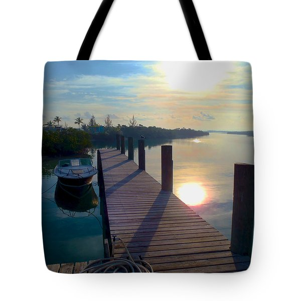 Cat Island Dock Tote Bag by Carey Chen