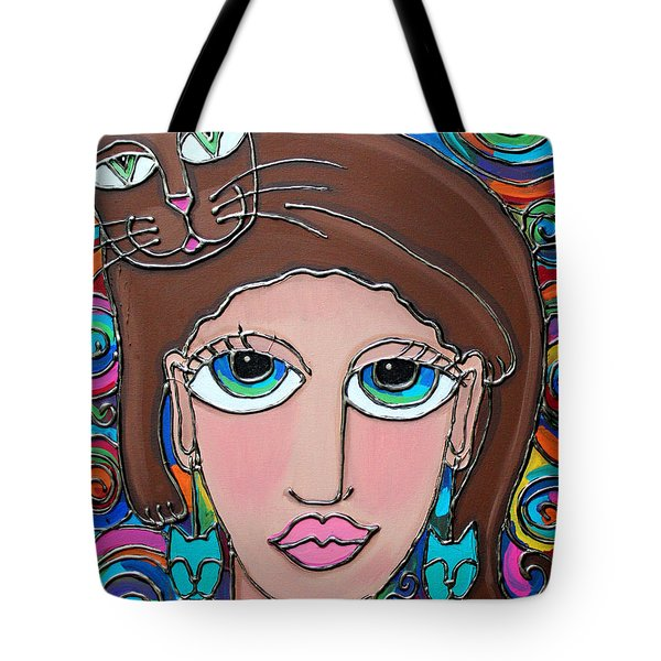 Cat Lady With Brown Hair Tote Bag by Cynthia Snyder