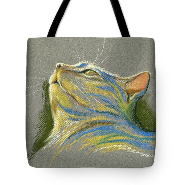 Cat Looking Up To Heaven Tote Bag