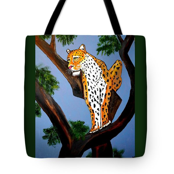 Cat On A Hot Wood Tree Tote Bag