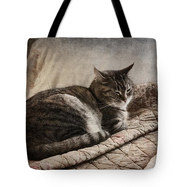 Cat On The Bed Tote Bag by Carol Leigh