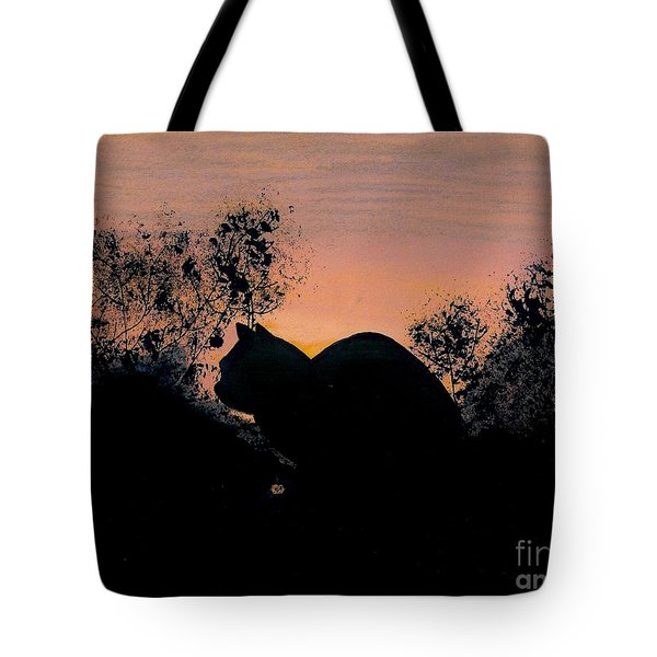 Tote Bag featuring the drawing Cat - Orange - Silhouette by D Hackett