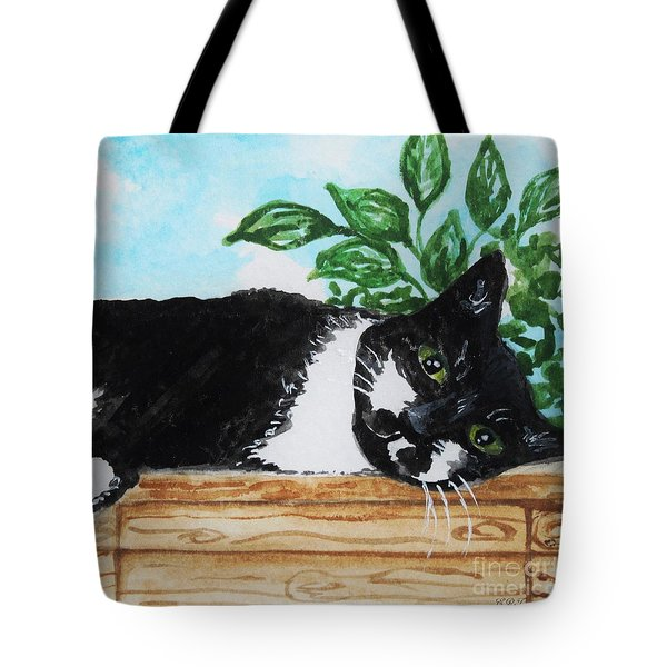 Cat Out On The Deck Tote Bag by Elizabeth Robinette Tyndall