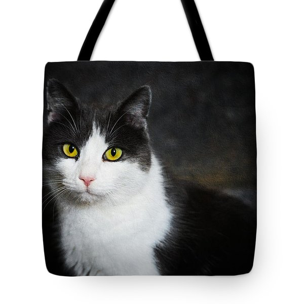Cat Portrait With Texture Tote Bag