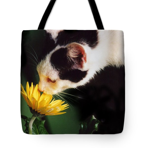 Cat Smelling Flower Tote Bag