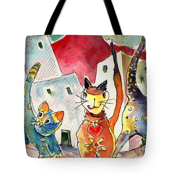 Cat Town In Lanzarote Tote Bag by Miki De Goodaboom