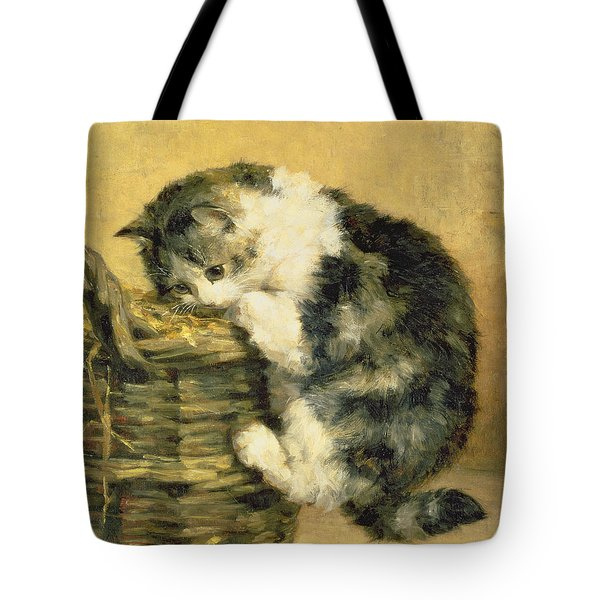 Cat With A Basket Tote Bag