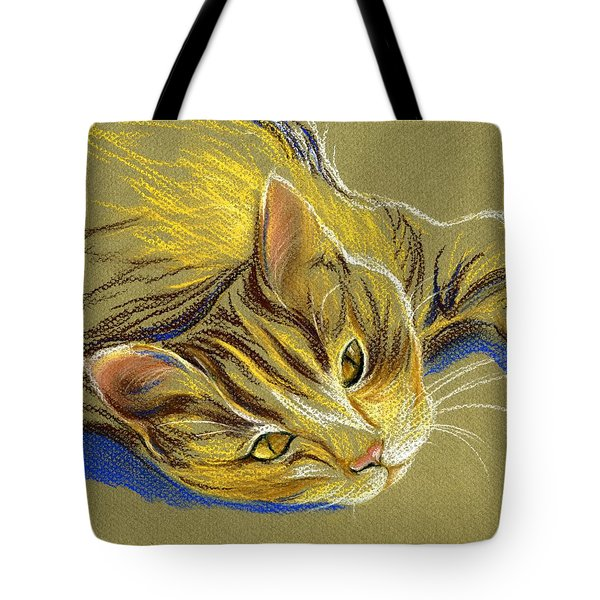 Cat With Gold Eyes Tote Bag by MM Anderson