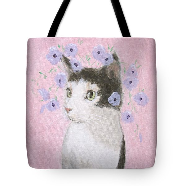 Cat With Purple Flowers Tote Bag