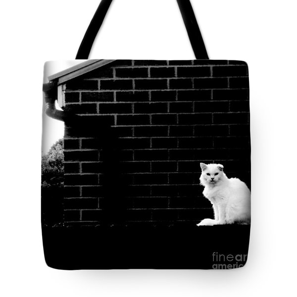 Cat With The Floppy Ear In Black And White Tote Bag