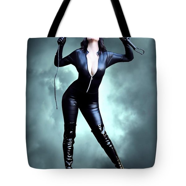 Feline Fatale On The Edge Tote Bag