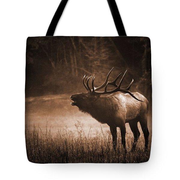 Cataloochee Bull Elk In Sepia Tote Bag