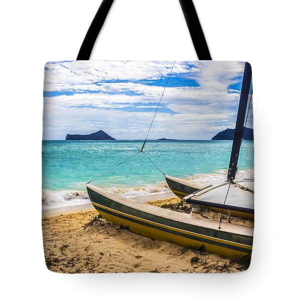 Tote Bag featuring the photograph Catamaran On Waimanalo Beach by Leigh Anne Meeks