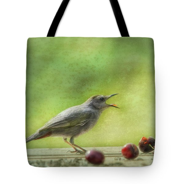 Catbird Eating Cherries Tote Bag
