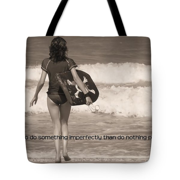 Catch A Wave Quote Tote Bag by JAMART Photography