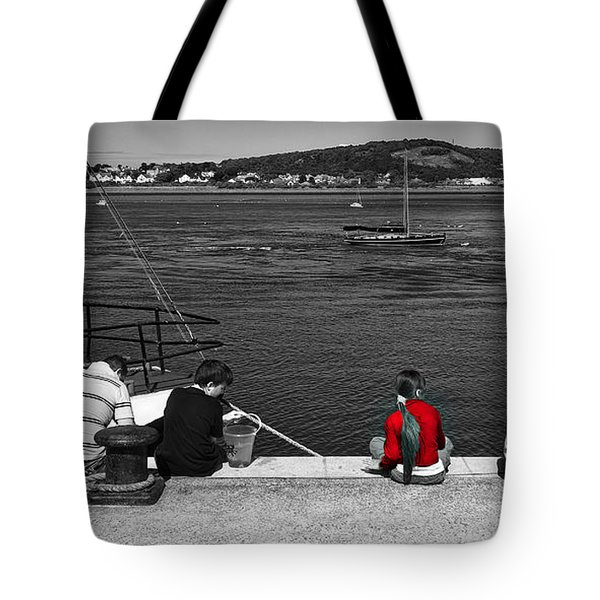 Tote Bag featuring the photograph Catching Crabs In Red by Meirion Matthias