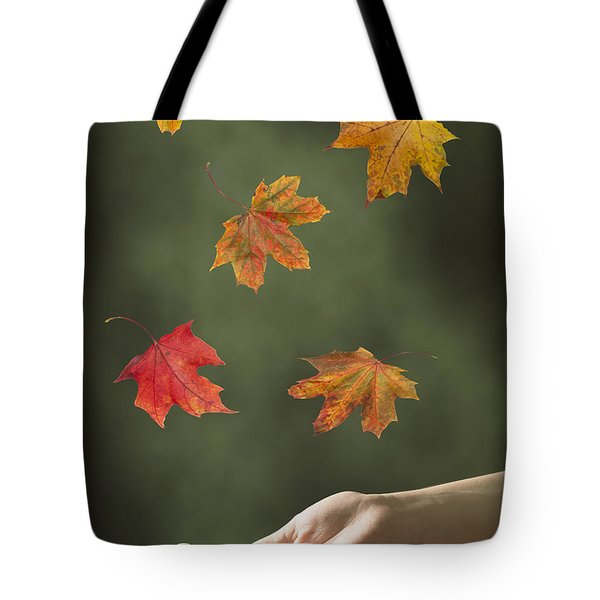 Catching Leaves Tote Bag by Amanda Elwell