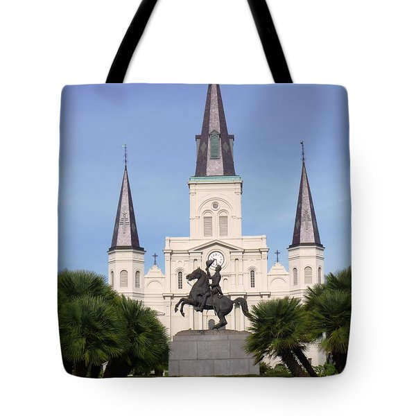 Tote Bag featuring the photograph Cathedral In Jackson Square by Alys Caviness-Gober