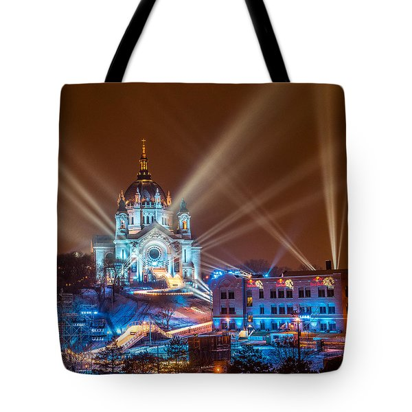 Cathedral Of St Paul Ready For Red Bull Crashed Ice Tote Bag by Paul Freidlund