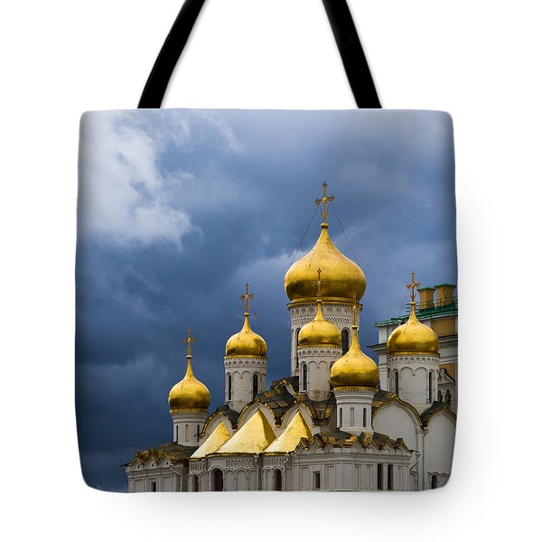 Cathedral Of The Annunciation Of Moscow Kremlin - Square Tote Bag by Alexander Senin