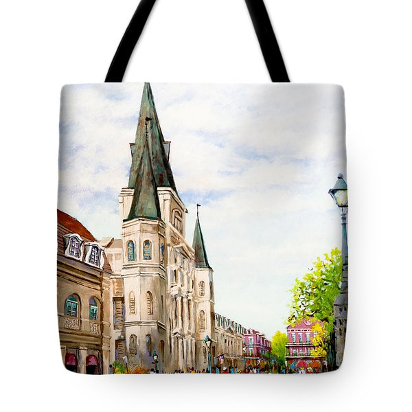 Cathedral Plaza - Jackson Square, French Quarter Tote Bag